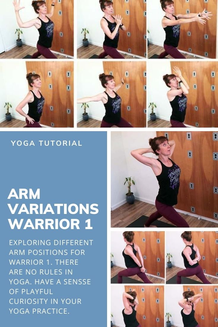 A home yoga practice can get boring doing the same repeatedly. Approach your yoga poses with a playful curiosity.  Explore different warrior 1 arm variations to combat boredom and protect shoulder issues.