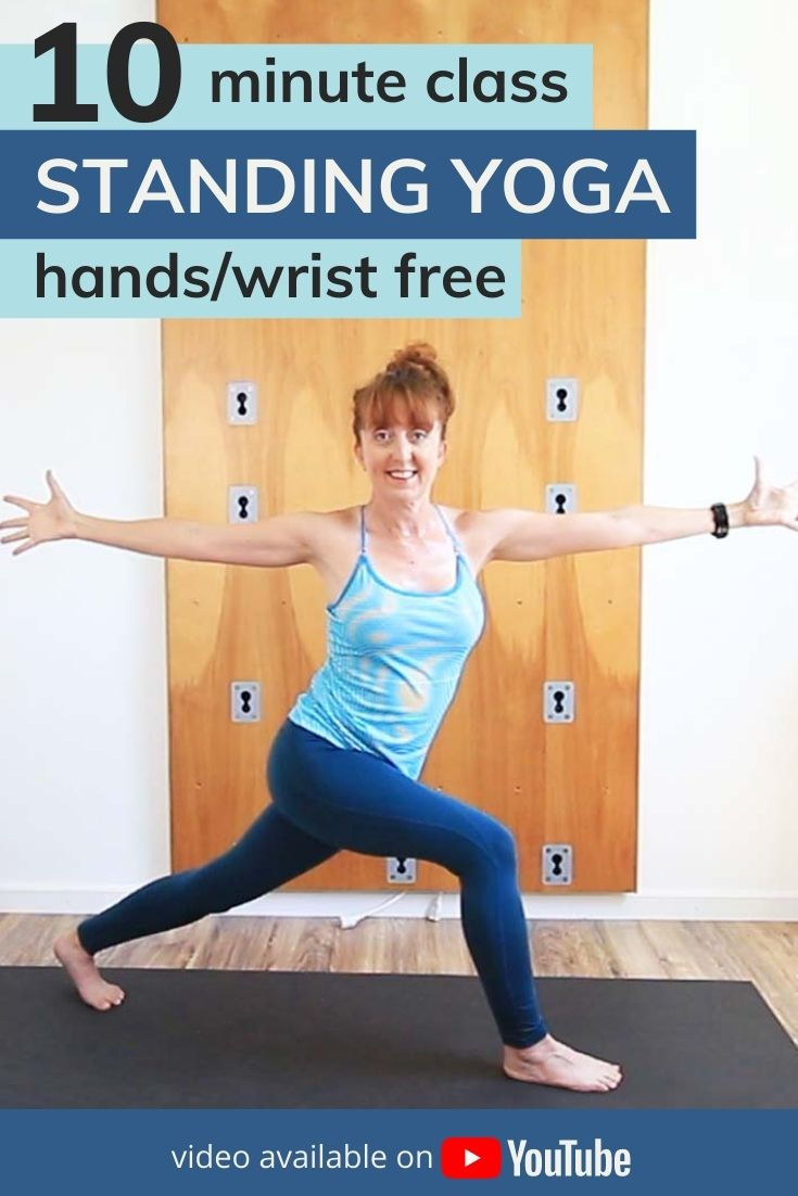 This 10 minute standing yoga sequence is great for anyone with wrist issues. This wrist free workout is a yoga flow stretch class that is all standing. No hands and knees, no planks or down dog. If balance is an issue then use a chair or wall for support. Poses included in this standing vinyasa yoga class include: chair, warrior 1, twist and more.