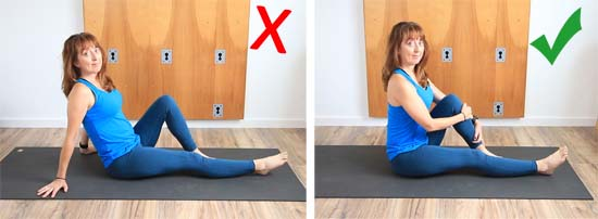 Demonstration of seated leaning back, and seated leaning forward (optimal)