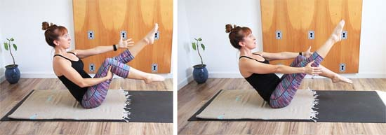 boat pose with alternating leg extension