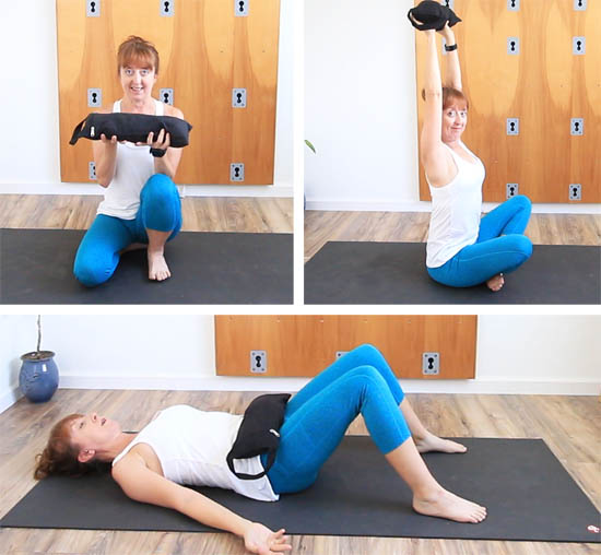 sandbag exercises and use as grounding for savasana