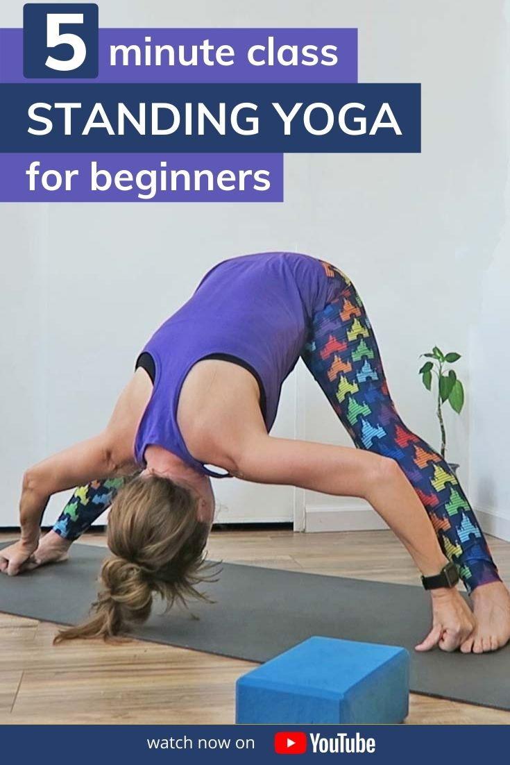 Find length in the hamstrings and inner thighs with this 5 minute standing yoga for beginners class. A short & sweet yoga routine to help build consistency in your yoga practice to get on your mat daily. All poses are standing, use yoga blocks or a chair/stool if you need to.
