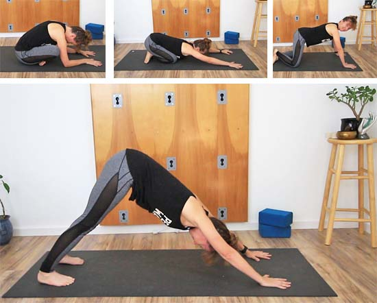 sukhasana transition to all fours and into downward facing dog.