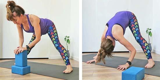 padottanasana, wide legged forward fold. Using blocks, and hands on floor.