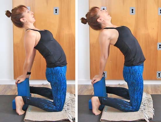 camel pose with closed vs open the chest