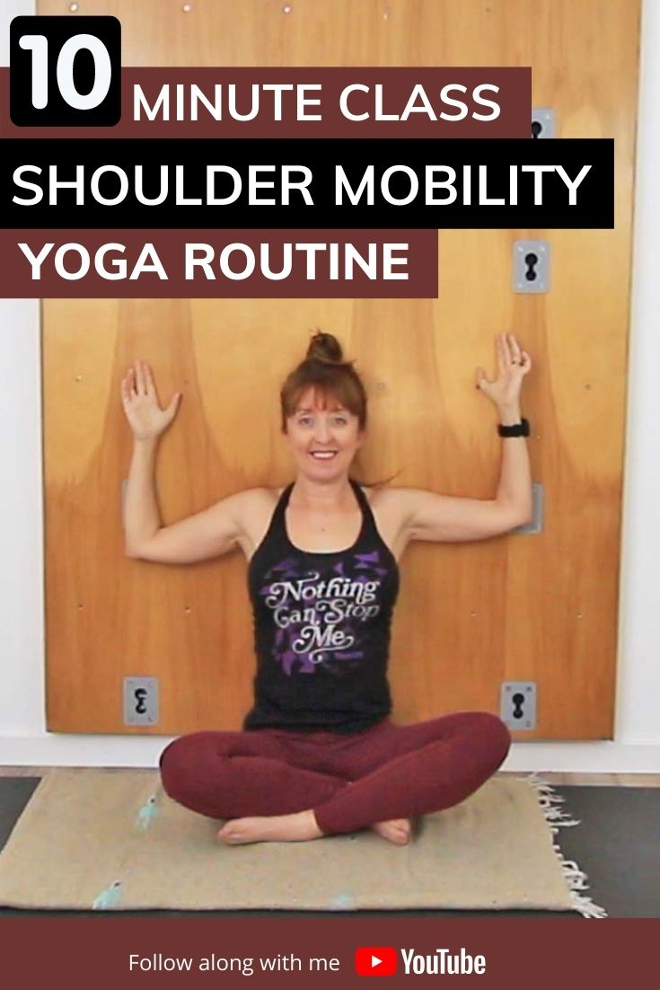 photo of 10 minute class. Shoulder Mobility Yoga Routine Wall Slide