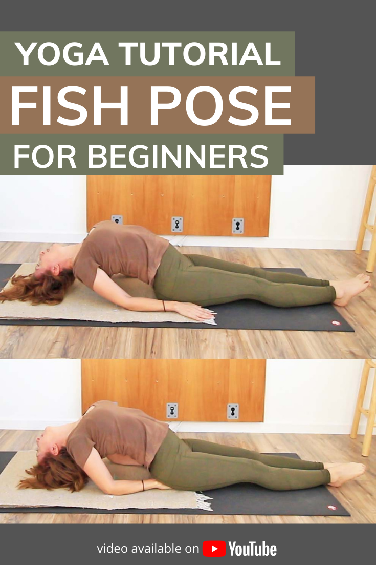 How to do Fish Pose for beginners. Level up your yoga practice with this step by step tutorial of matsyasana, fish pose. Includes contraindications, benefits and preparatory poses to make it more accessible. Learn modifications using a bolster and/or blocks for support. Also included are three common errors and the fixes for them.