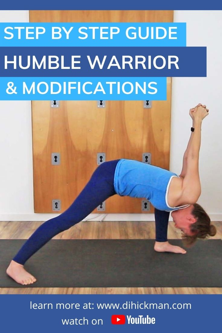 Step by step guide to humble warrior & modifications with demonstration of pose