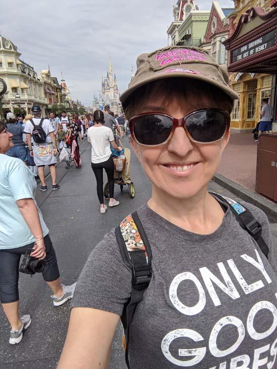 yoga teacher selfie at main street magic kingdom disneyworld