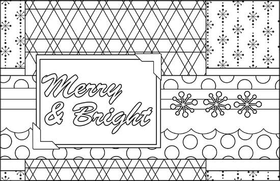 Merry & Bright Outline Image