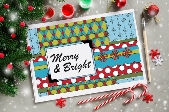 Colored and assembled printable holiday coloring cards