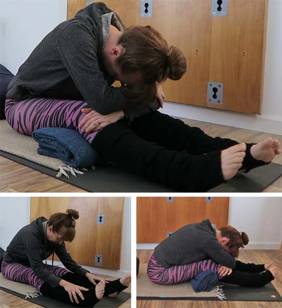 Supported and Unsupported Paschimottanasana - seated forward fold