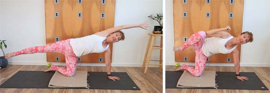side plank with top arm and leg contraction