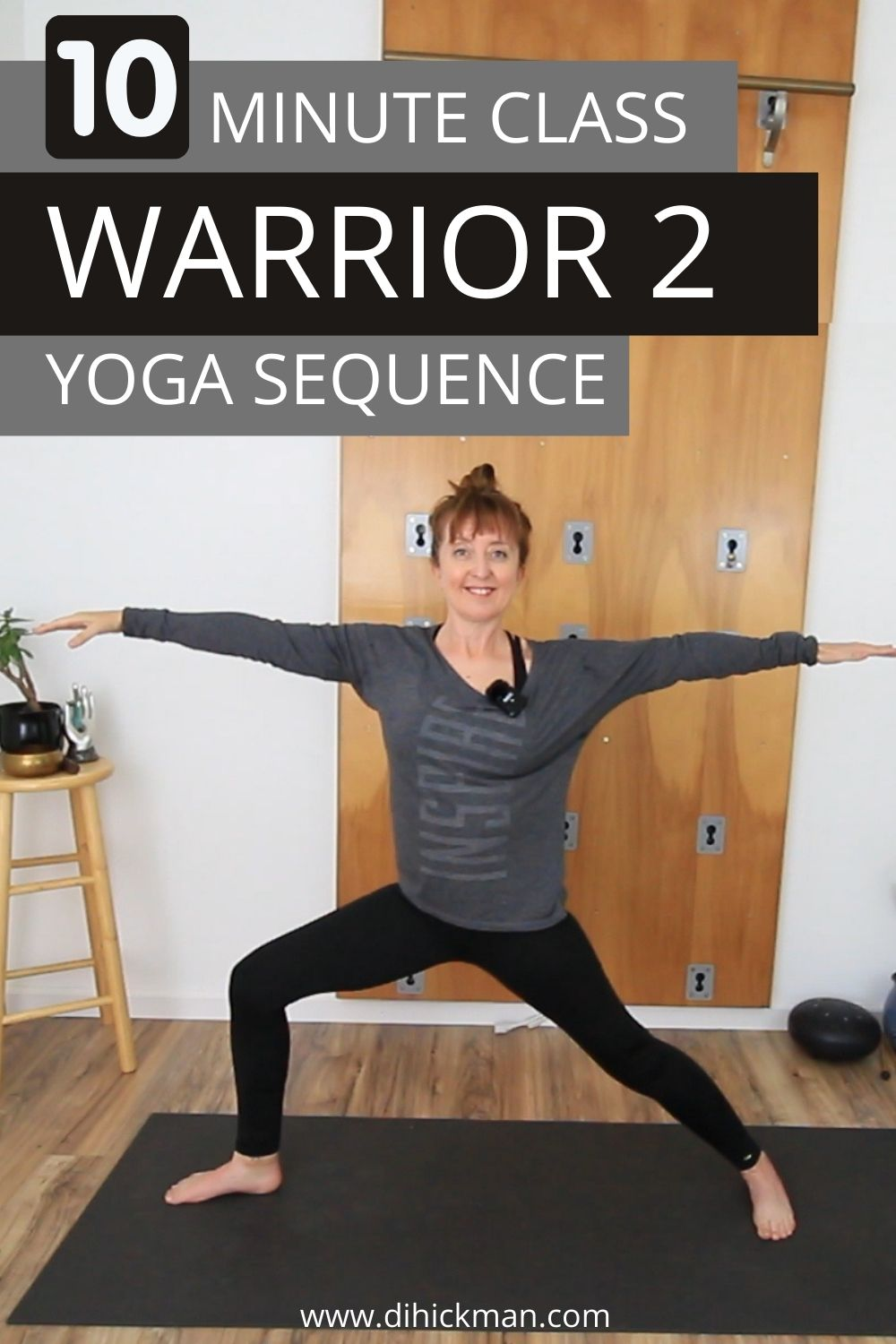 10 minute class, warrior 2 yoga sequence