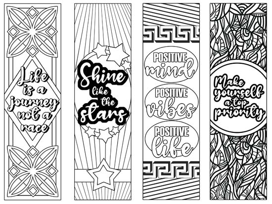 4 printable bookmarks to print and color