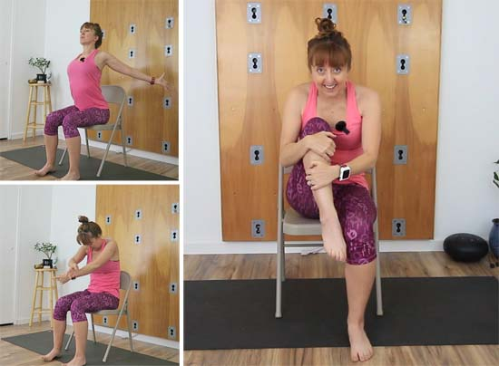Yoga teacher seated in chair demonstrating warm up exercises