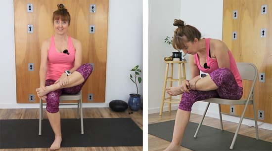 Yoga teacher in seated chair 4 stretch