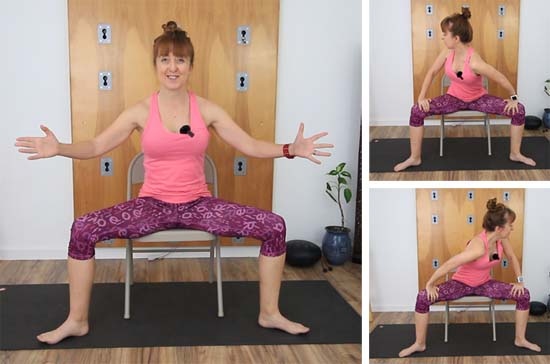 Yoga teacher chair seated goddess pose
