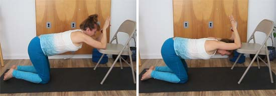 dolphin pose shoulders on chair