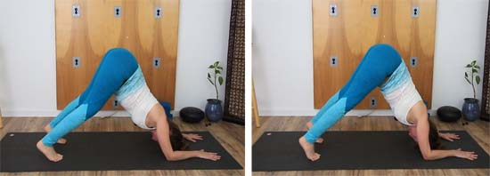 dolphin pose with and without core engagement