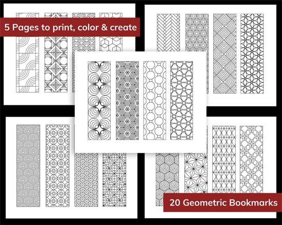 20 printable bookmarks to download print and color