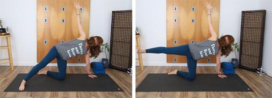 half moon pose modified by kneeling