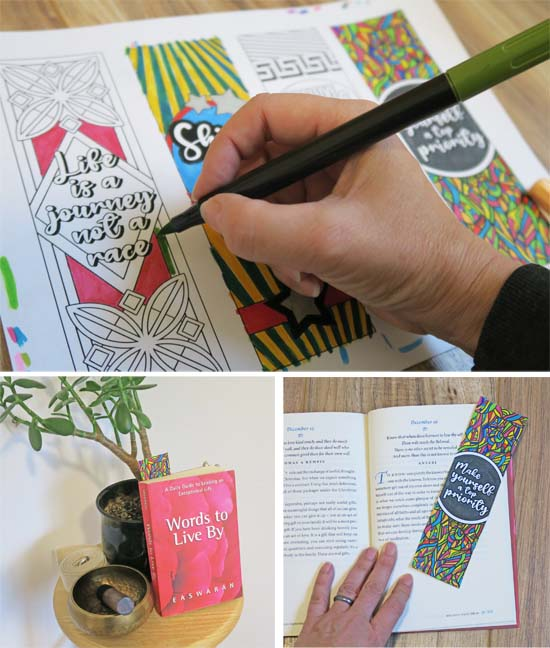 hand holding a pen, coloring a bookmark. Bookmark in a book.