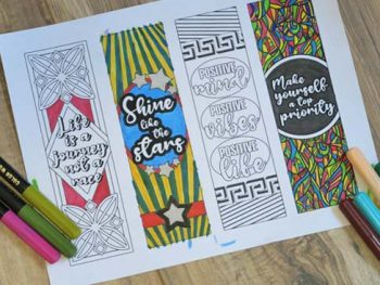 Printable page with 4 bookmarks to color