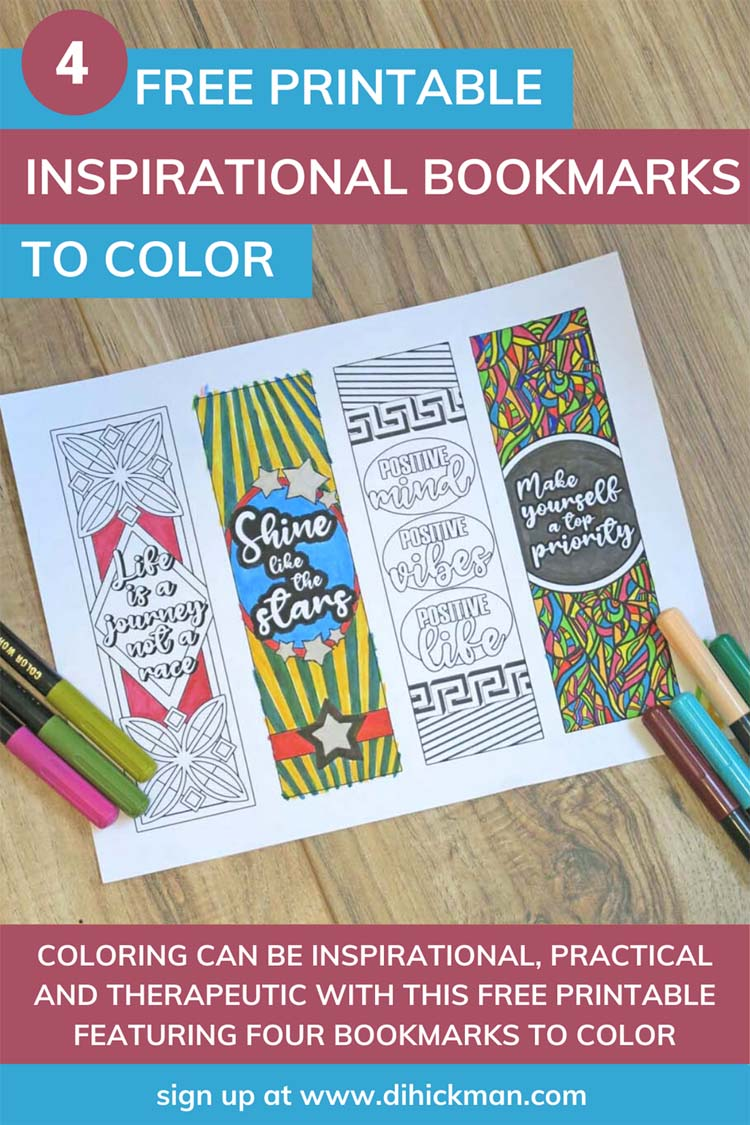 4 free printable inspirational bookmarks to color
