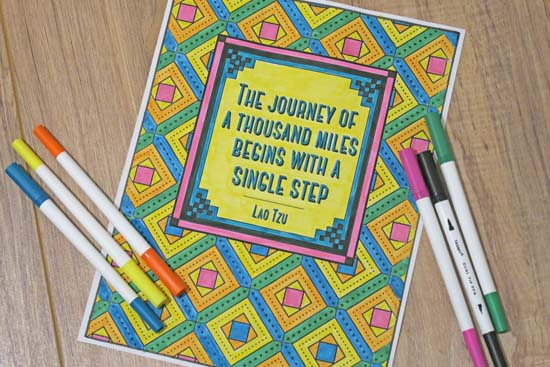 Journey Coloring Page with Lao Tzu Quote
