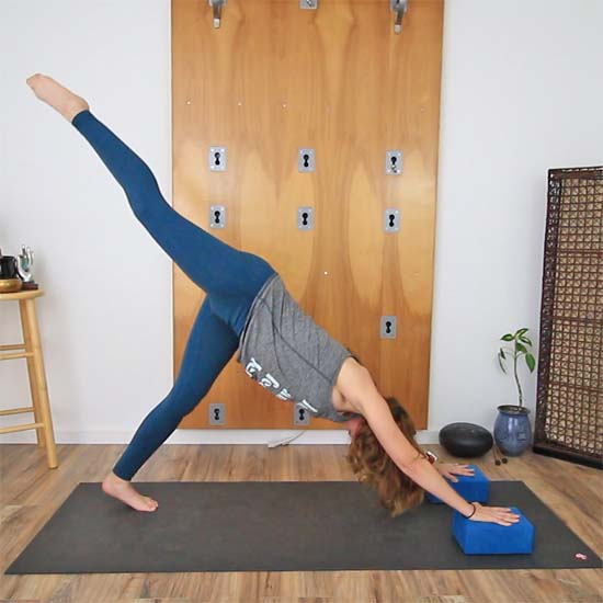 3-legged dog pose with blocks for more height
