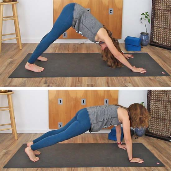 down dog to plank transition