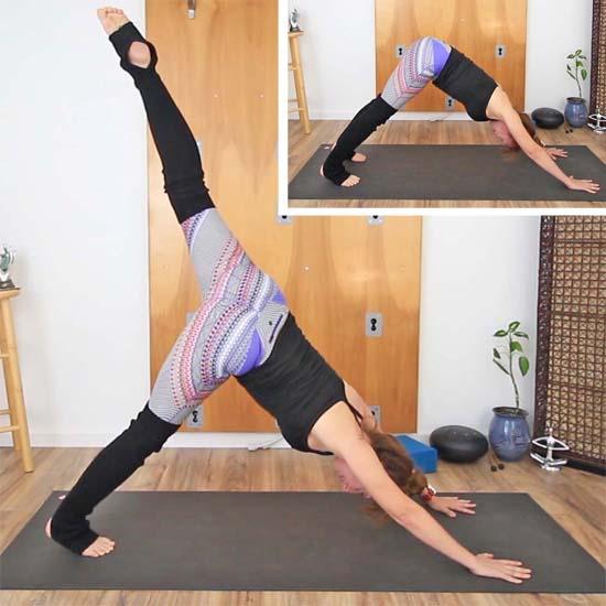 yoga teacher doing downward facing dog and 3-legged dog pose