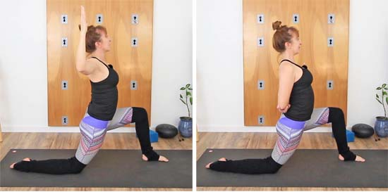 yoga teacher doing low lunge with arms in goddess and arms behind back