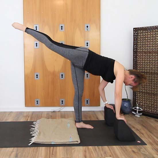 Standing splits with blocks under the hands