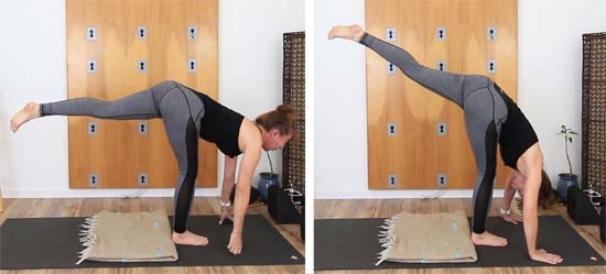 side by side comparison of standing split with the head forward and chin tucked.