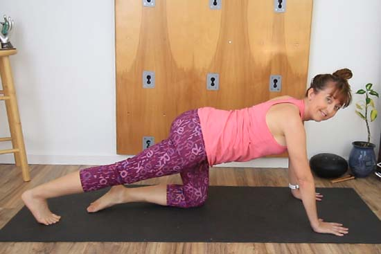 yoga teacher on all fours with one leg extended back