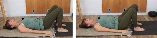 yoga teacher dressed in green on a  yoga mat