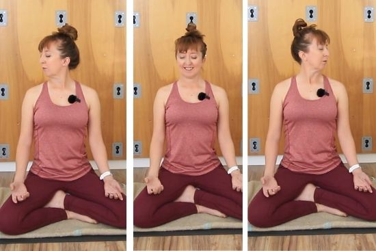 woman sitting cross-legged and turning head to right and left