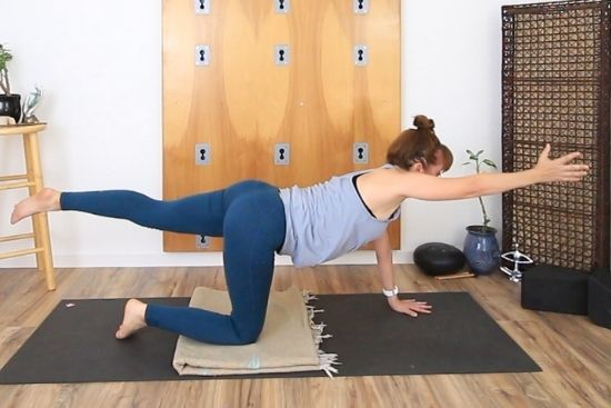 Contralateral extension, on all fours with opposite arm and leg extended
