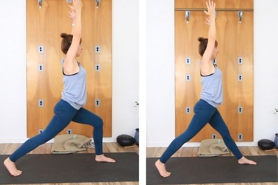 Crescent lunge to extended legs