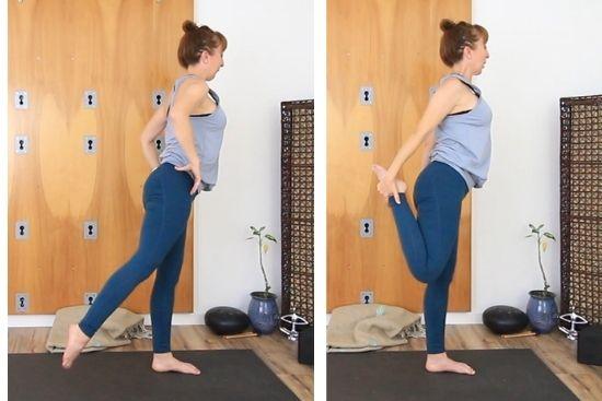 Standing balance to quad stretch