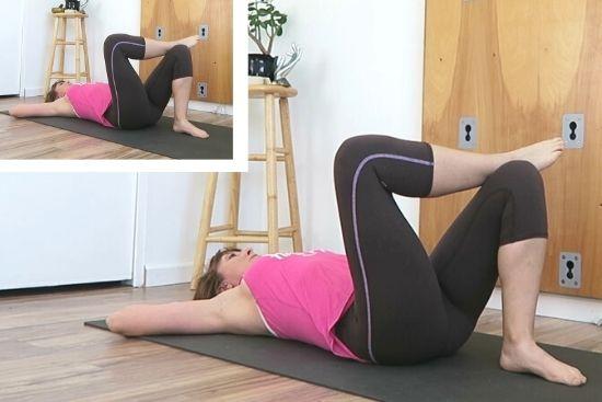 figure four stretch on back