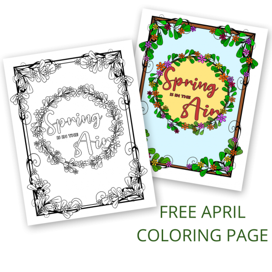 Spring is in the air free april coloring page