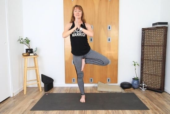 tree pose standing on right leg