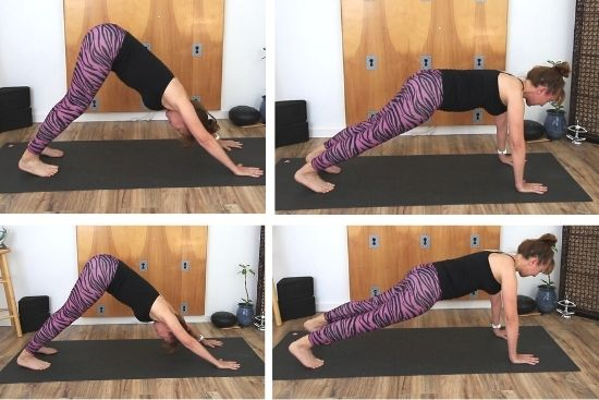 down dog to plank transition and foot/hand placement