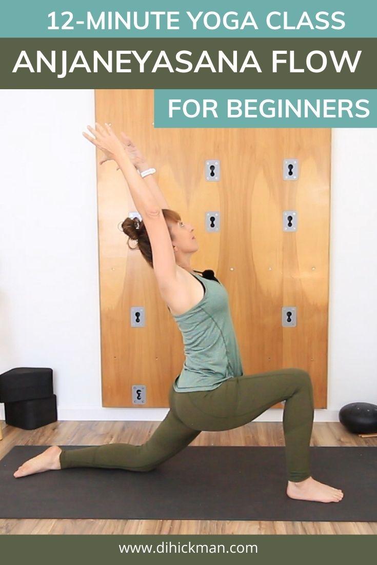 12-minute yoga class, anjaneyasana flow for beginners