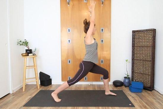 high crescent lunge yoga pose