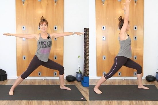 warrior 1 and warrior 2 yoga pose transition