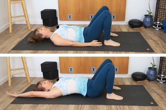 Lying with Knees bent feet on the floor. Then reaching one arm back
